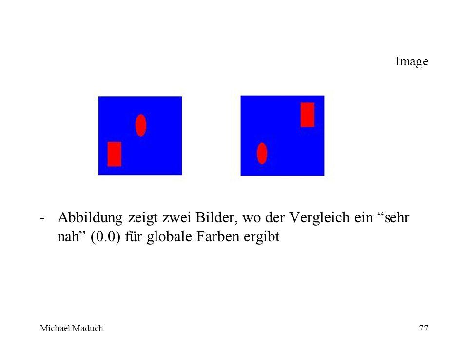 Michael Maduch77 Image -Abbildung zeigt zwei Bilder, wo der Vergleich ein sehr nah (0.0) für globale Farben ergibt