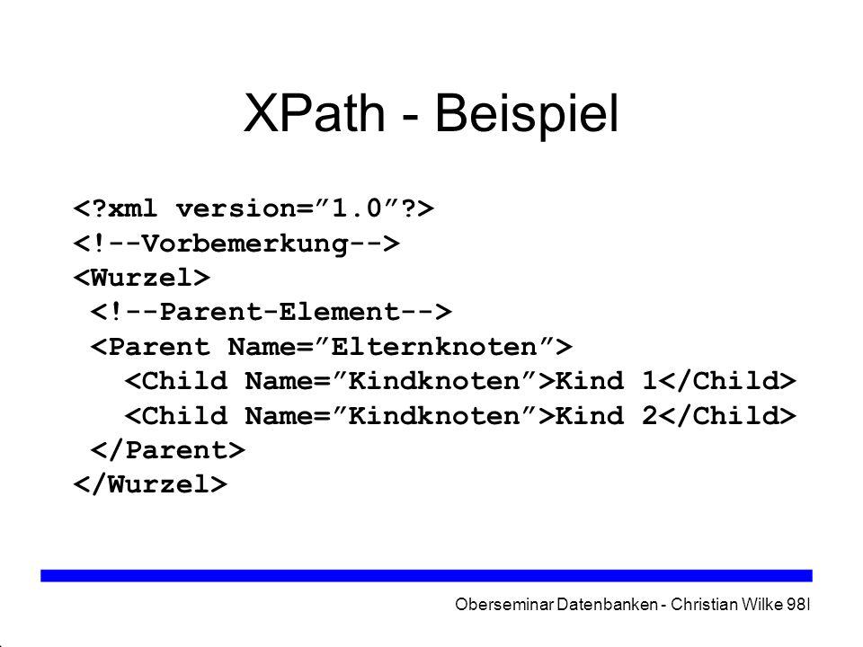 Oberseminar Datenbanken - Christian Wilke 98I XPath - Beispiel Kind 1 Kind 2