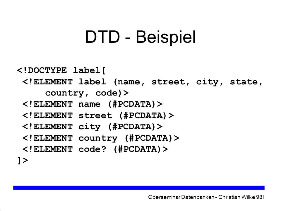 Oberseminar Datenbanken - Christian Wilke 98I DTD - Beispiel <!DOCTYPE label[ ]>