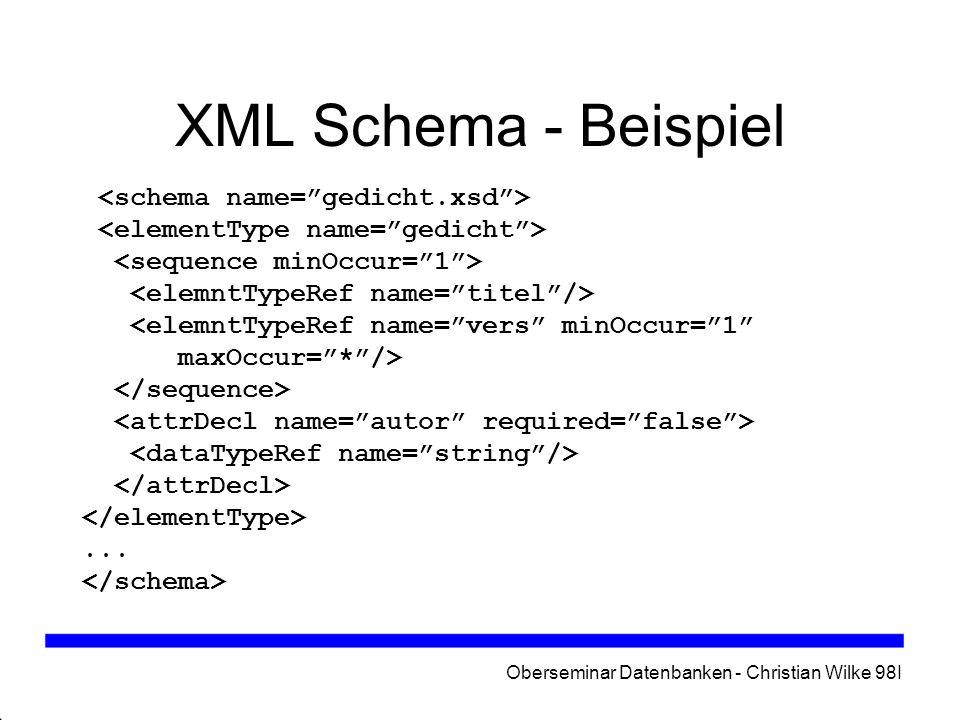 Oberseminar Datenbanken - Christian Wilke 98I XML Schema (2) Elementtypen mit lokalem Gültigkeitsbereich Elemente erweitern Import von Teilen eines Schemas bzw.