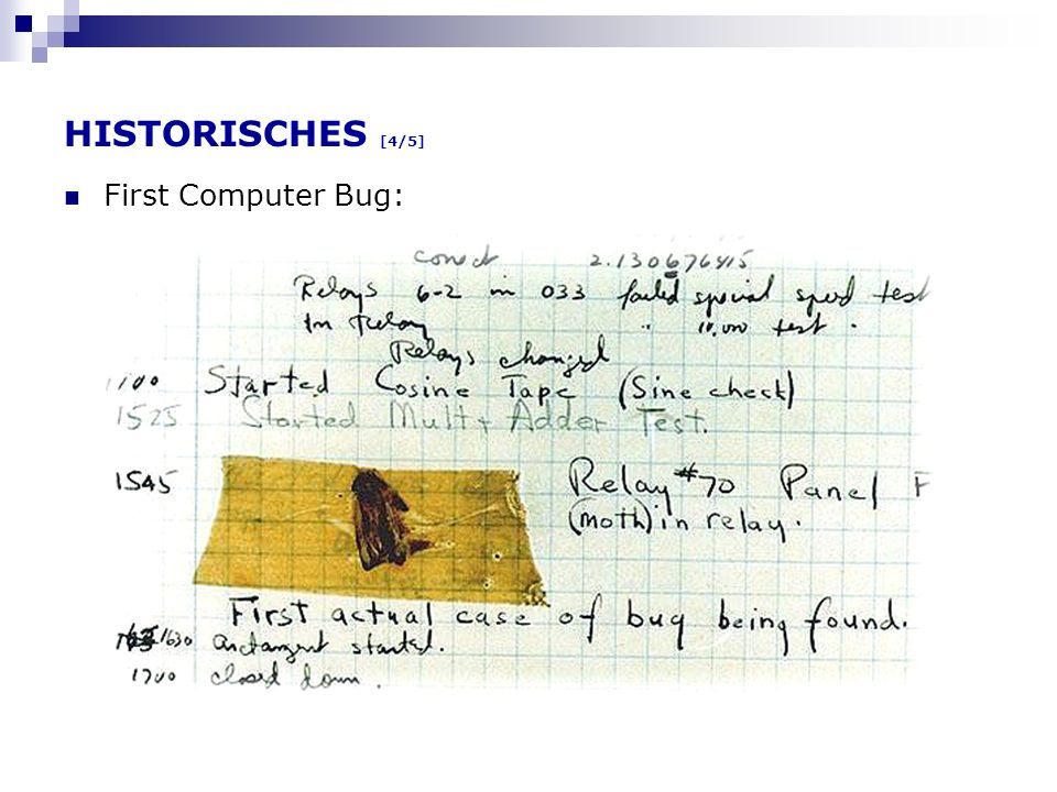 HISTORISCHES [4/5] First Computer Bug: