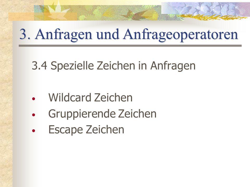 3. Anfragen und Anfrageoperatoren 3.4 Spezielle Zeichen in Anfragen Wildcard Zeichen Gruppierende Zeichen Escape Zeichen