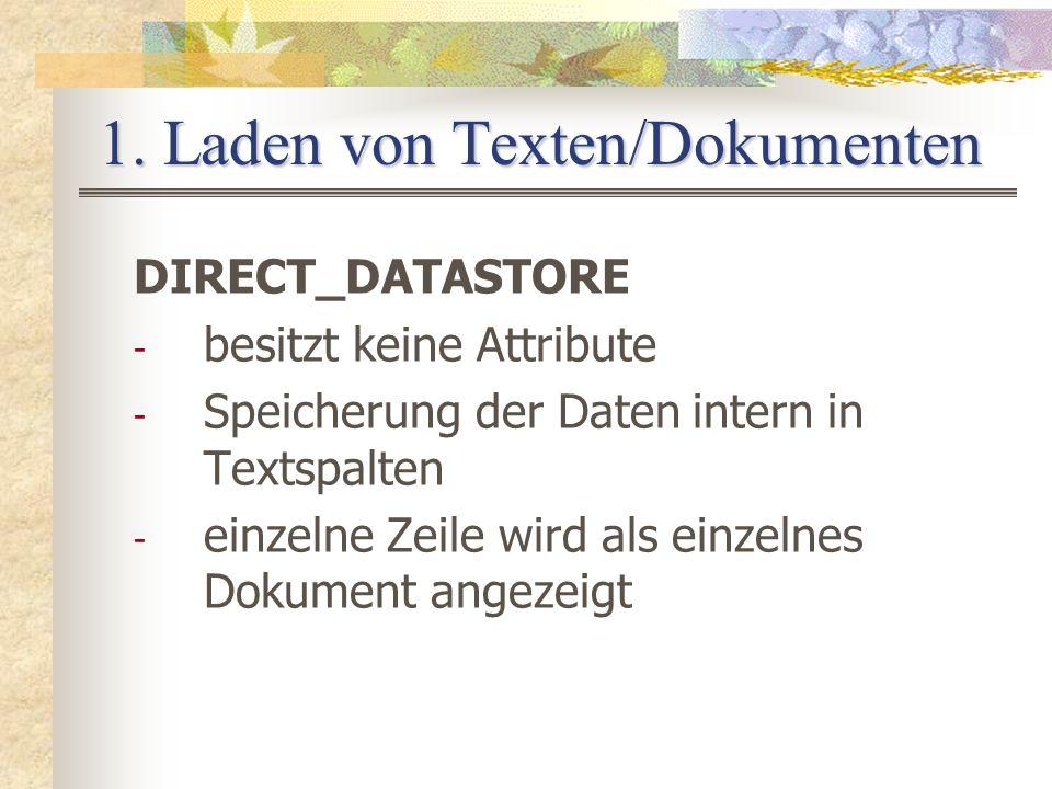 1. Laden von Texten/Dokumenten DIRECT_DATASTORE - besitzt keine Attribute - Speicherung der Daten intern in Textspalten - einzelne Zeile wird als einz
