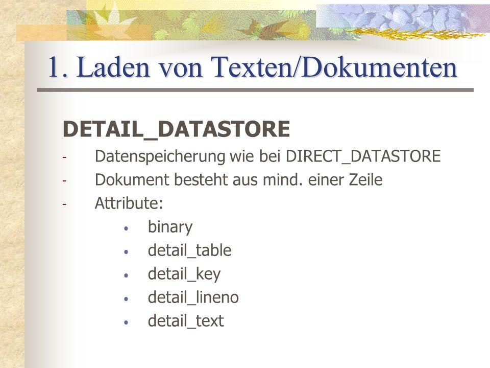 1. Laden von Texten/Dokumenten DETAIL_DATASTORE - Datenspeicherung wie bei DIRECT_DATASTORE - Dokument besteht aus mind. einer Zeile - Attribute: bina