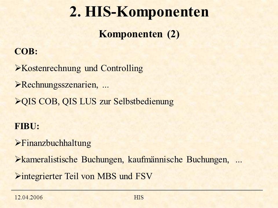12.04.2006HIS 2. HIS-Komponenten COB: Kostenrechnung und Controlling Rechnungsszenarien,... QIS COB, QIS LUS zur Selbstbedienung FIBU: Finanzbuchhaltu