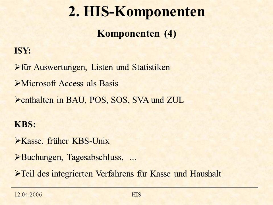 12.04.2006HIS 2. HIS-Komponenten ISY: für Auswertungen, Listen und Statistiken Microsoft Access als Basis enthalten in BAU, POS, SOS, SVA und ZUL KBS:
