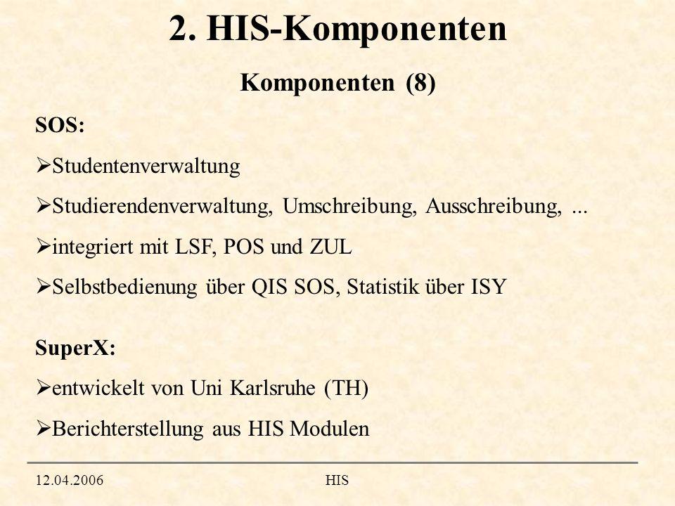 12.04.2006HIS 2. HIS-Komponenten SOS: Studentenverwaltung Studierendenverwaltung, Umschreibung, Ausschreibung,... integriert mit LSF, POS und ZUL Selb