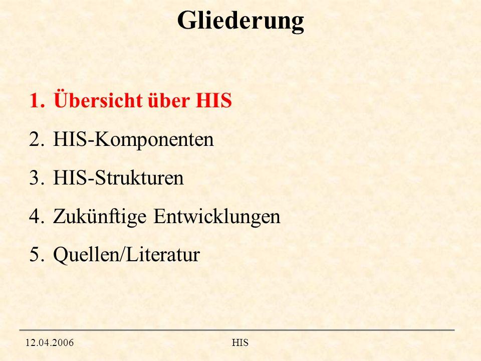 1.Übersicht über HIS Grundlegendes 12.04.2006HIS Hochschulinformationssystem ca.