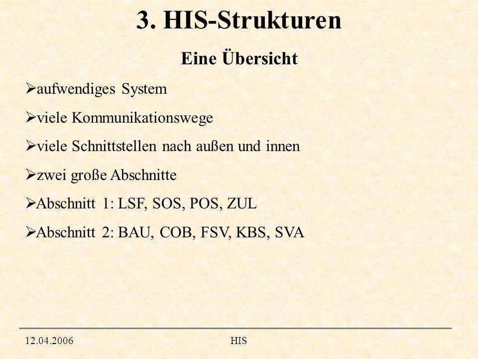 12.04.2006HIS 3. HIS-Strukturen aufwendiges System viele Kommunikationswege viele Schnittstellen nach außen und innen zwei große Abschnitte Abschnitt