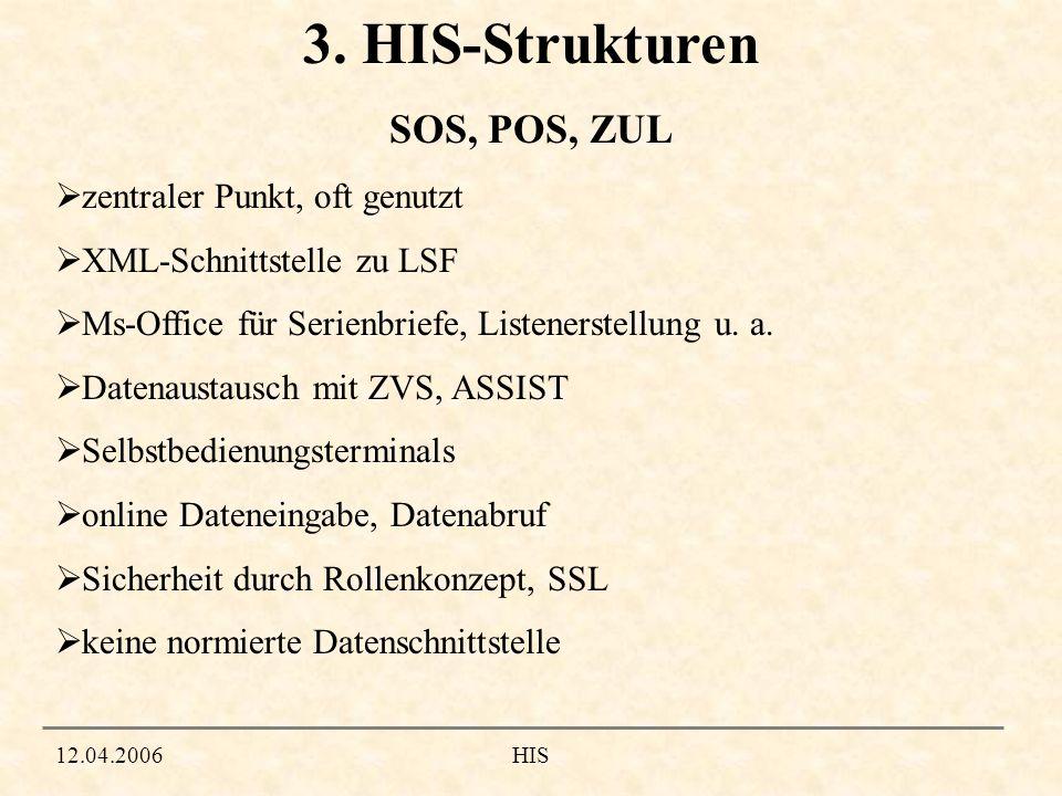 12.04.2006HIS 3. HIS-Strukturen zentraler Punkt, oft genutzt XML-Schnittstelle zu LSF Ms-Office für Serienbriefe, Listenerstellung u. a. Datenaustausc