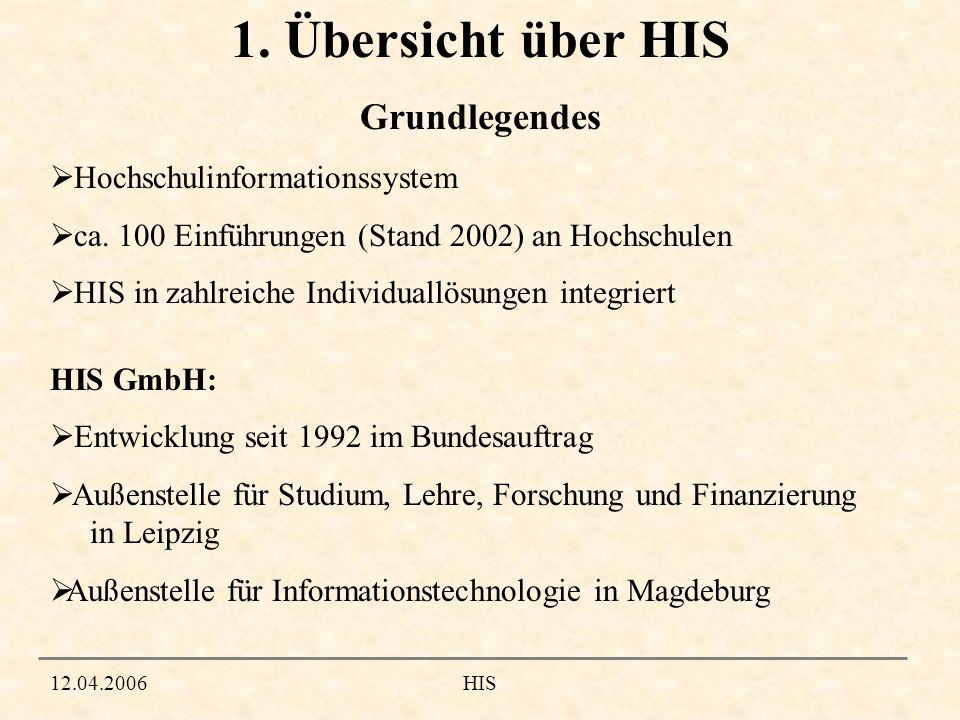 1. Übersicht über HIS Grundlegendes 12.04.2006HIS Hochschulinformationssystem ca. 100 Einführungen (Stand 2002) an Hochschulen HIS in zahlreiche Indiv