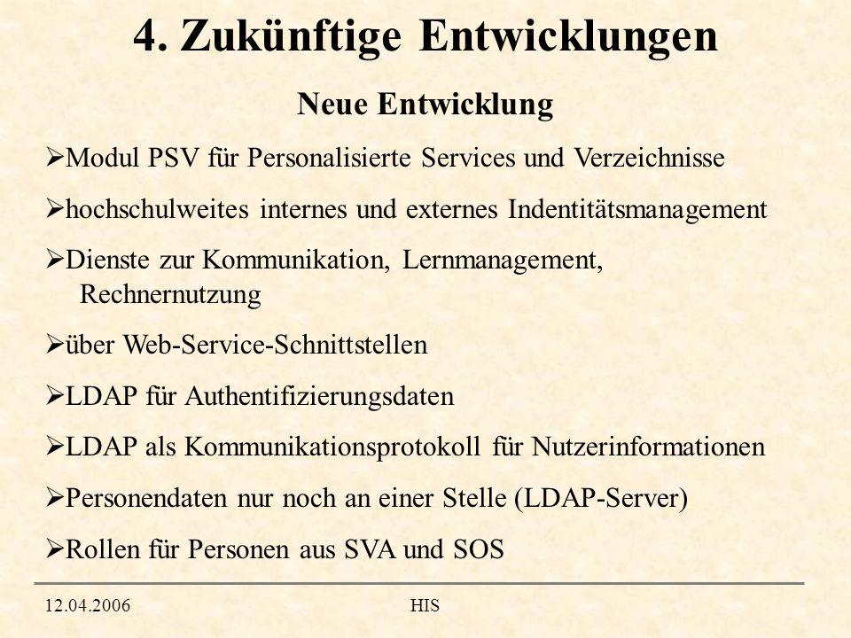 12.04.2006HIS 4. Zukünftige Entwicklungen Modul PSV für Personalisierte Services und Verzeichnisse hochschulweites internes und externes Indentitätsma