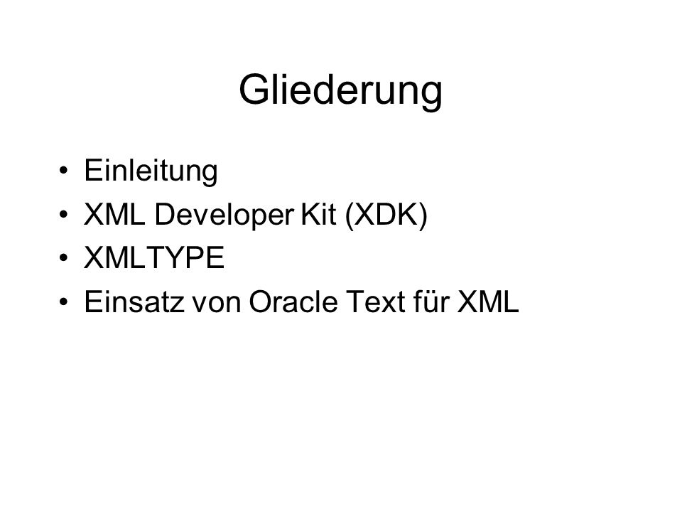 XDK XML Parser/DOM/Beispiel import java.io.*; import org.w3c.dom.*; import org.w3c.dom.Node; import oracle.xml.parser.v2.*; public class DOMTest { static public void main(String argv[])throws Exception { DOMParser parser = new DOMParser(); parser.parse( file:C:\\test.xml ); XMLDocument doc = parser.getDocument();
