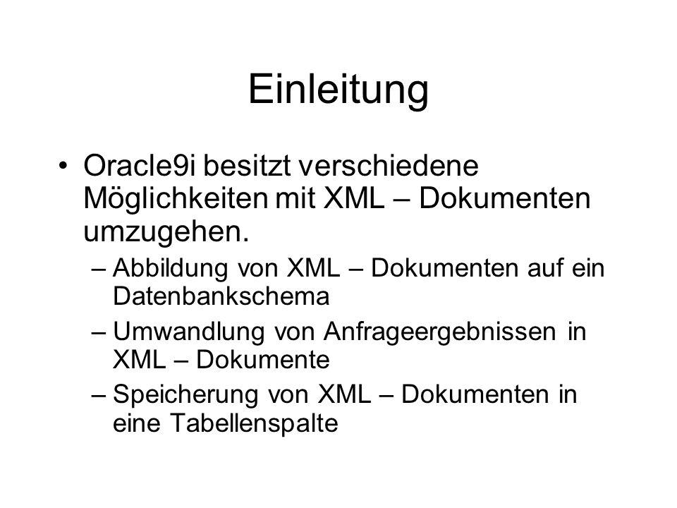 Einleitung Oracle9i besitzt verschiedene Möglichkeiten mit XML – Dokumenten umzugehen.