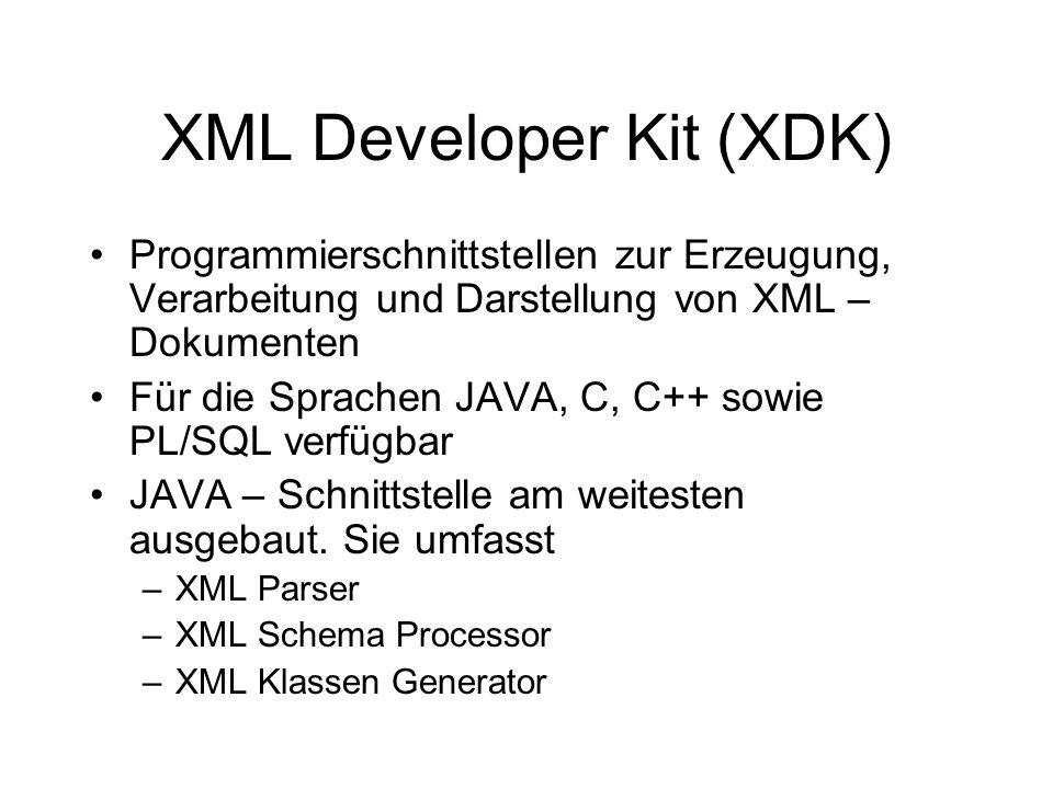 XDK XML Parser/SAX ereignisbasiert keinerlei interne Repräsentation des gesamten XML – Dokumentes benutzerdefinierter Handler für jedes Element Dokument wird seriell verarbeitet