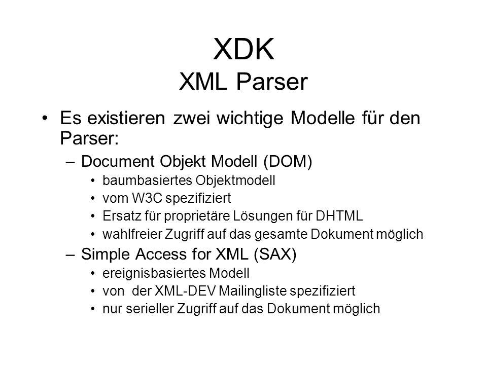 XDK XML Parser Es existieren zwei wichtige Modelle für den Parser: –Document Objekt Modell (DOM) baumbasiertes Objektmodell vom W3C spezifiziert Ersatz für proprietäre Lösungen für DHTML wahlfreier Zugriff auf das gesamte Dokument möglich –Simple Access for XML (SAX) ereignisbasiertes Modell von der XML-DEV Mailingliste spezifiziert nur serieller Zugriff auf das Dokument möglich
