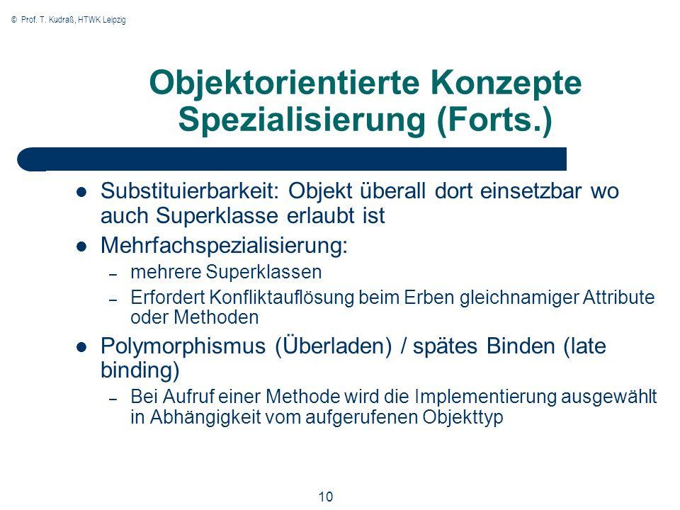 © Prof. T. Kudraß, HTWK Leipzig 10 Objektorientierte Konzepte Spezialisierung (Forts.) Substituierbarkeit: Objekt überall dort einsetzbar wo auch Supe