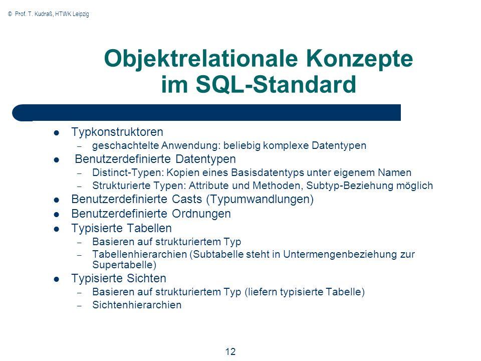 © Prof. T. Kudraß, HTWK Leipzig 12 Objektrelationale Konzepte im SQL-Standard Typkonstruktoren – geschachtelte Anwendung: beliebig komplexe Datentypen