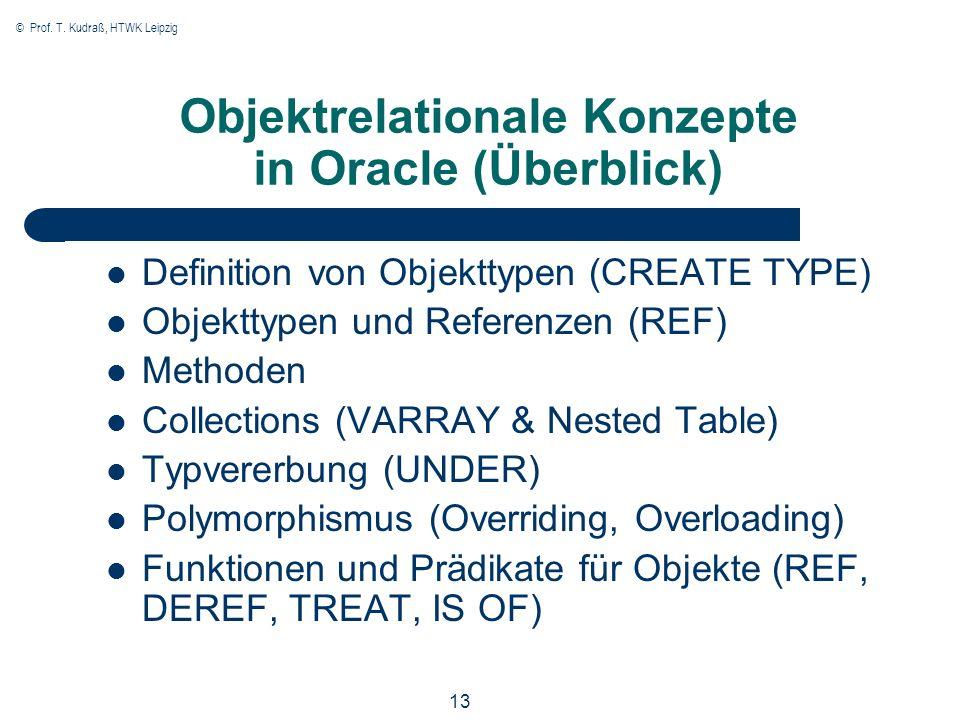 © Prof. T. Kudraß, HTWK Leipzig 13 Objektrelationale Konzepte in Oracle (Überblick) Definition von Objekttypen (CREATE TYPE) Objekttypen und Referenze