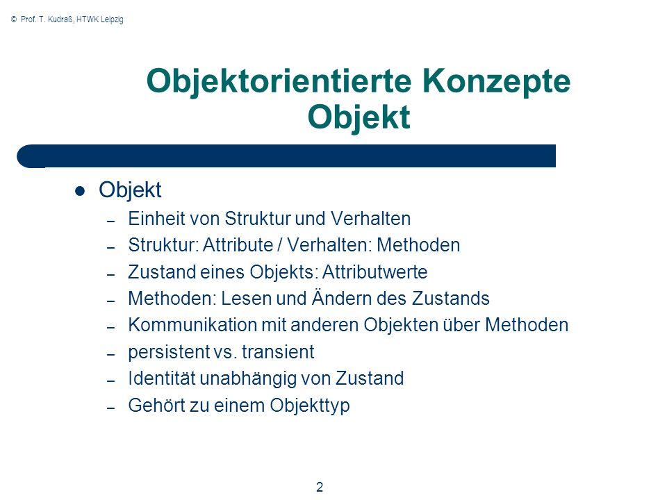 © Prof. T. Kudraß, HTWK Leipzig 2 Objektorientierte Konzepte Objekt Objekt – Einheit von Struktur und Verhalten – Struktur: Attribute / Verhalten: Met