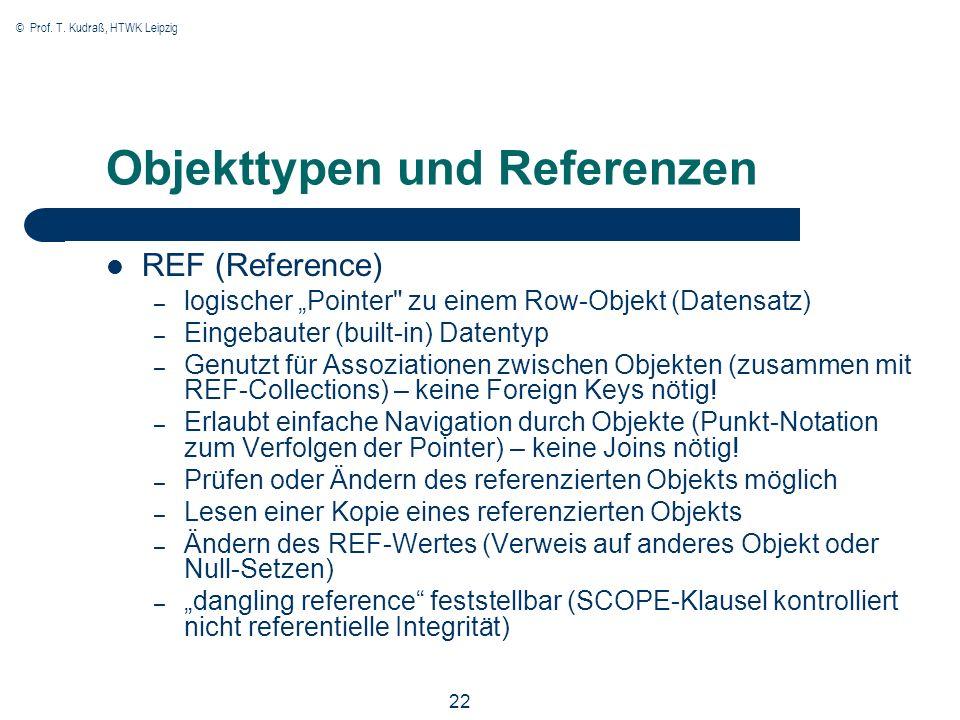 © Prof. T. Kudraß, HTWK Leipzig 22 Objekttypen und Referenzen REF (Reference) – logischer Pointer