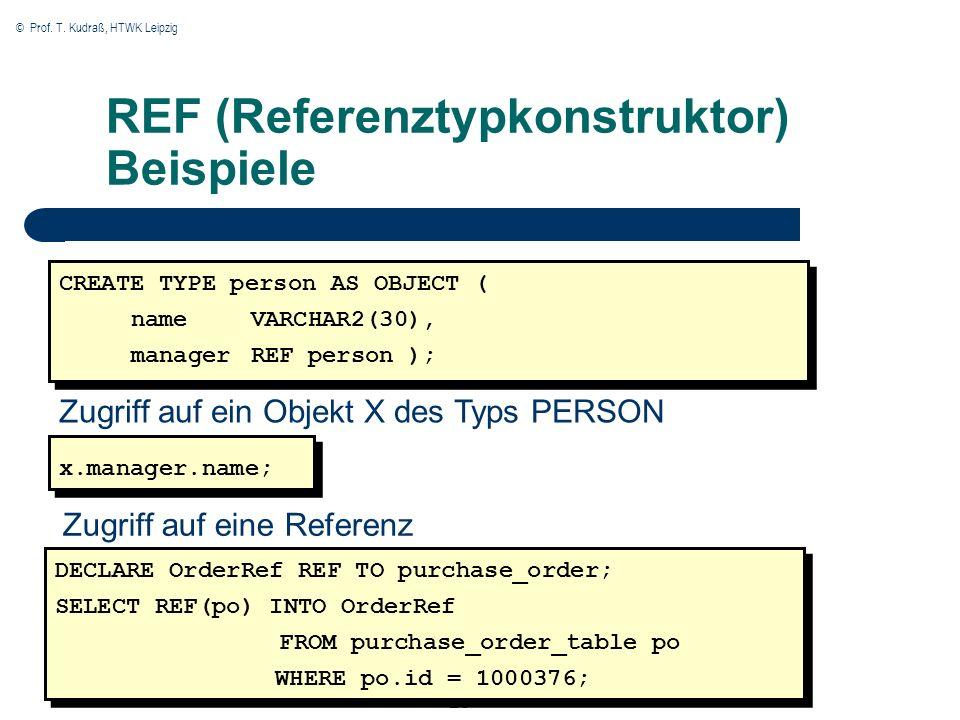 © Prof. T. Kudraß, HTWK Leipzig 23 REF (Referenztypkonstruktor) Beispiele CREATE TYPE person AS OBJECT ( name VARCHAR2(30), managerREF person ); Zugri