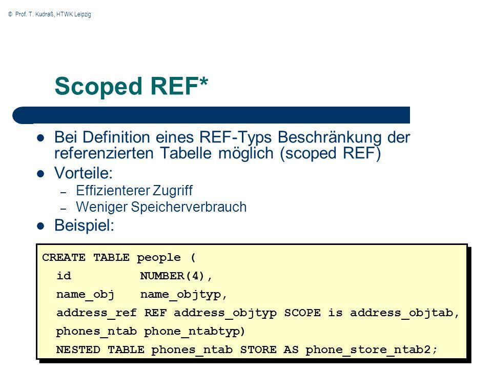 © Prof. T. Kudraß, HTWK Leipzig 24 Scoped REF* Bei Definition eines REF-Typs Beschränkung der referenzierten Tabelle möglich (scoped REF) Vorteile: –