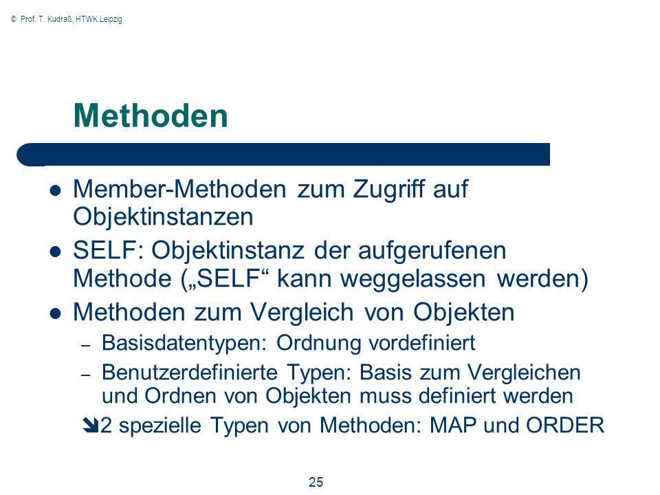 © Prof. T. Kudraß, HTWK Leipzig 25 Methoden Member-Methoden zum Zugriff auf Objektinstanzen SELF: Objektinstanz der aufgerufenen Methode (SELF kann we