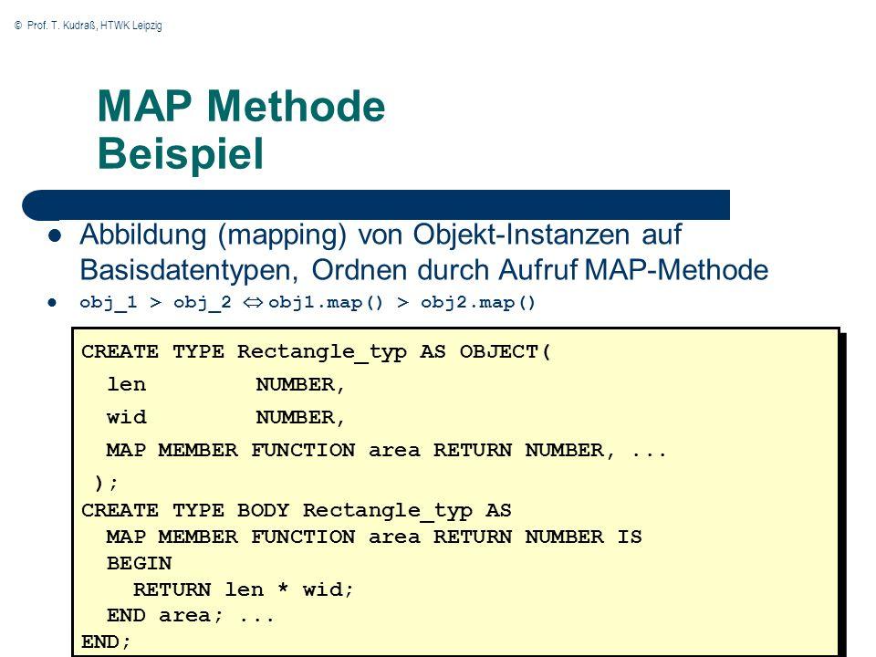 © Prof. T. Kudraß, HTWK Leipzig 26 MAP Methode Beispiel Abbildung (mapping) von Objekt-Instanzen auf Basisdatentypen, Ordnen durch Aufruf MAP-Methode