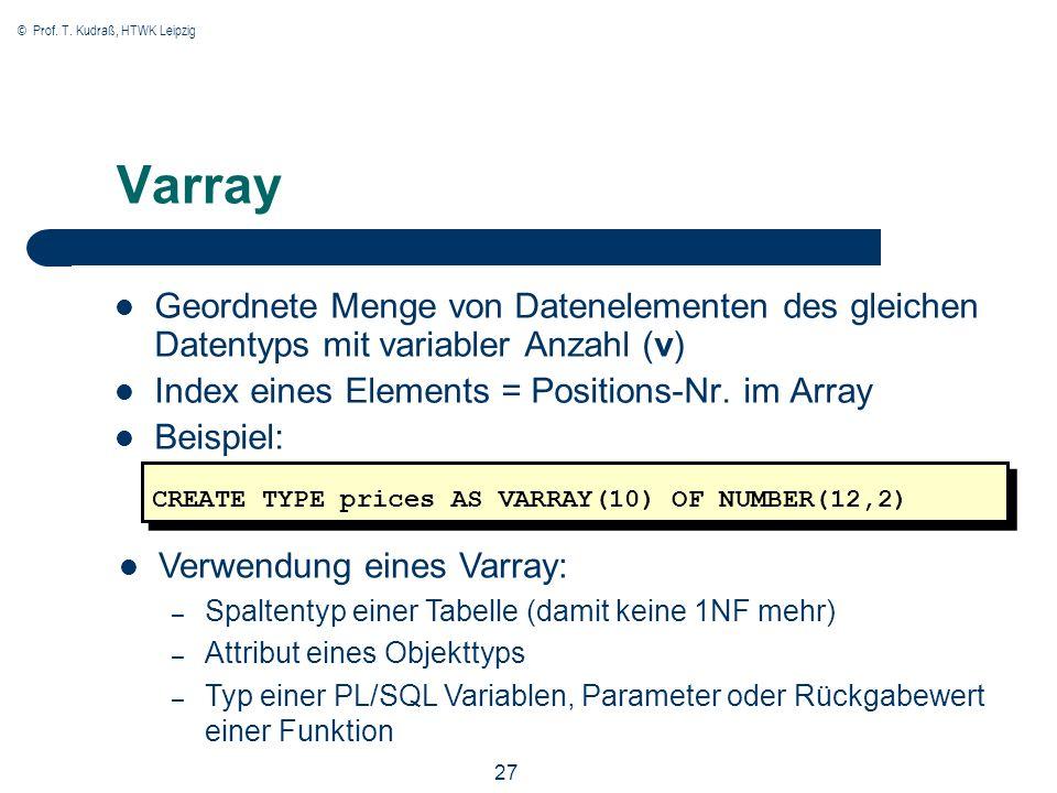 © Prof. T. Kudraß, HTWK Leipzig 27 Varray Geordnete Menge von Datenelementen des gleichen Datentyps mit variabler Anzahl (v) Index eines Elements = Po