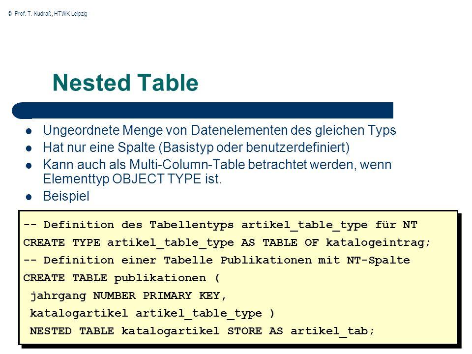 © Prof. T. Kudraß, HTWK Leipzig 28 Nested Table Ungeordnete Menge von Datenelementen des gleichen Typs Hat nur eine Spalte (Basistyp oder benutzerdefi