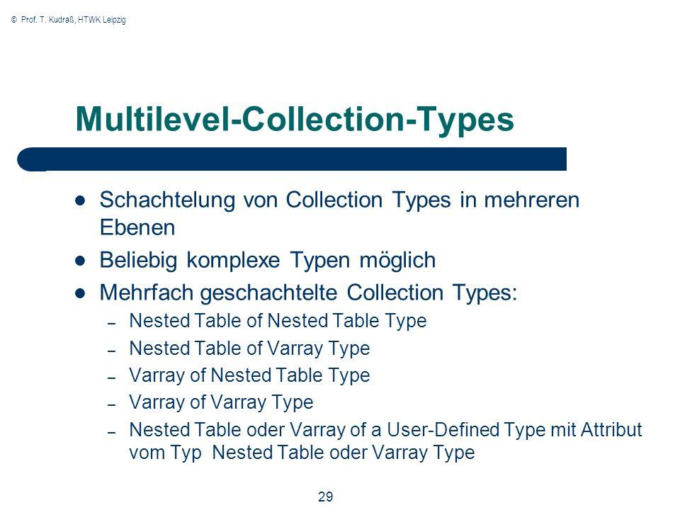 © Prof. T. Kudraß, HTWK Leipzig 29 Multilevel-Collection-Types Schachtelung von Collection Types in mehreren Ebenen Beliebig komplexe Typen möglich Me