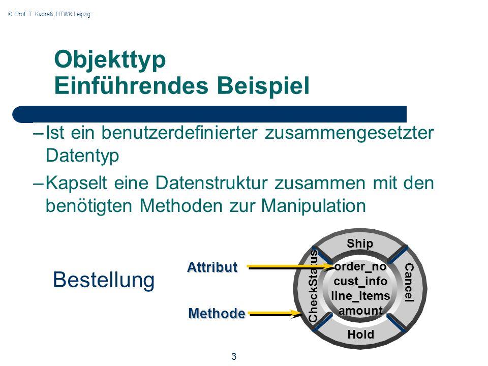 © Prof. T. Kudraß, HTWK Leipzig 3 Objekttyp Einführendes Beispiel –Ist ein benutzerdefinierter zusammengesetzter Datentyp –Kapselt eine Datenstruktur