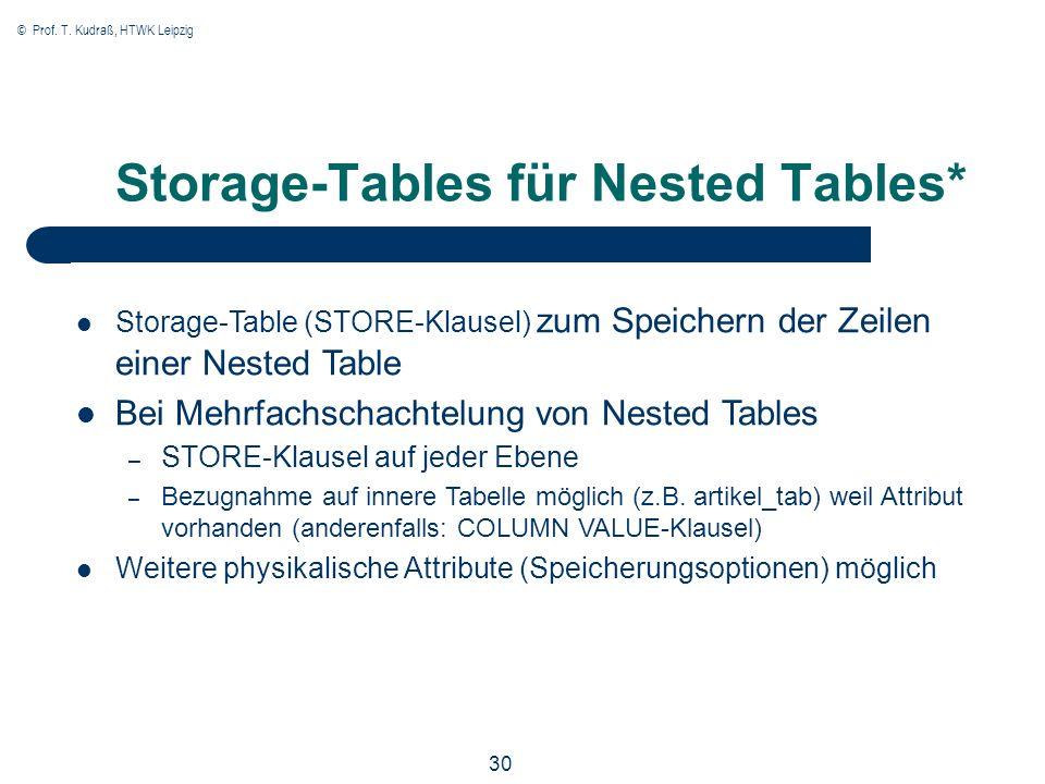© Prof. T. Kudraß, HTWK Leipzig 30 Storage-Tables für Nested Tables* Storage-Table (STORE-Klausel) zum Speichern der Zeilen einer Nested Table Bei Meh