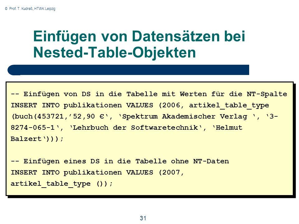 © Prof. T. Kudraß, HTWK Leipzig 31 Einfügen von Datensätzen bei Nested-Table-Objekten -- Einfügen von DS in die Tabelle mit Werten für die NT-Spalte I