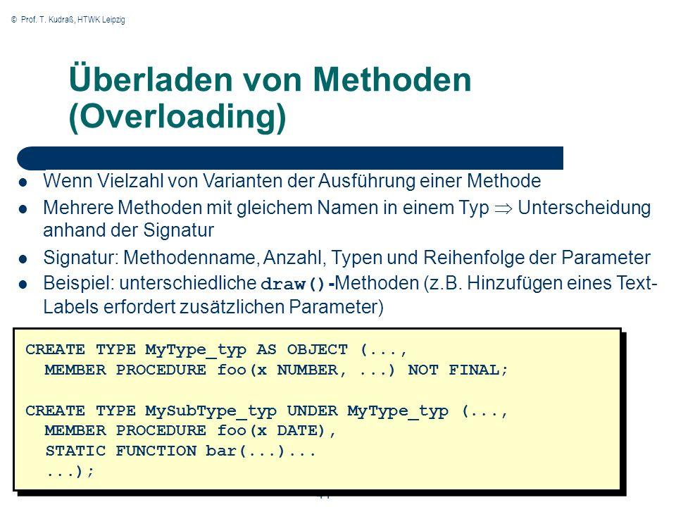 © Prof. T. Kudraß, HTWK Leipzig 41 Überladen von Methoden (Overloading) CREATE TYPE MyType_typ AS OBJECT (..., MEMBER PROCEDURE foo(x NUMBER,...) NOT