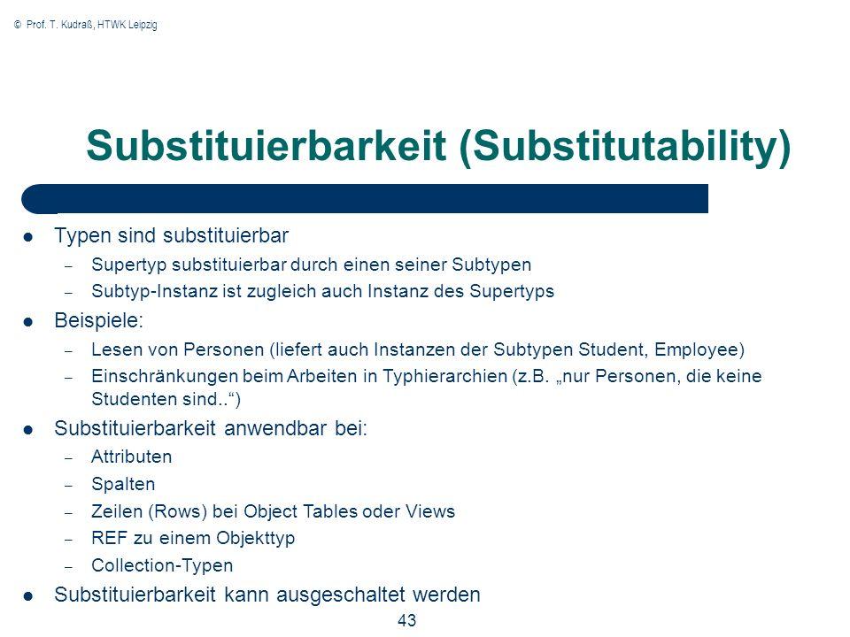 © Prof. T. Kudraß, HTWK Leipzig 43 Substituierbarkeit (Substitutability) Typen sind substituierbar – Supertyp substituierbar durch einen seiner Subtyp
