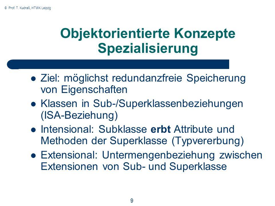 © Prof. T. Kudraß, HTWK Leipzig 9 Objektorientierte Konzepte Spezialisierung Ziel: möglichst redundanzfreie Speicherung von Eigenschaften Klassen in S