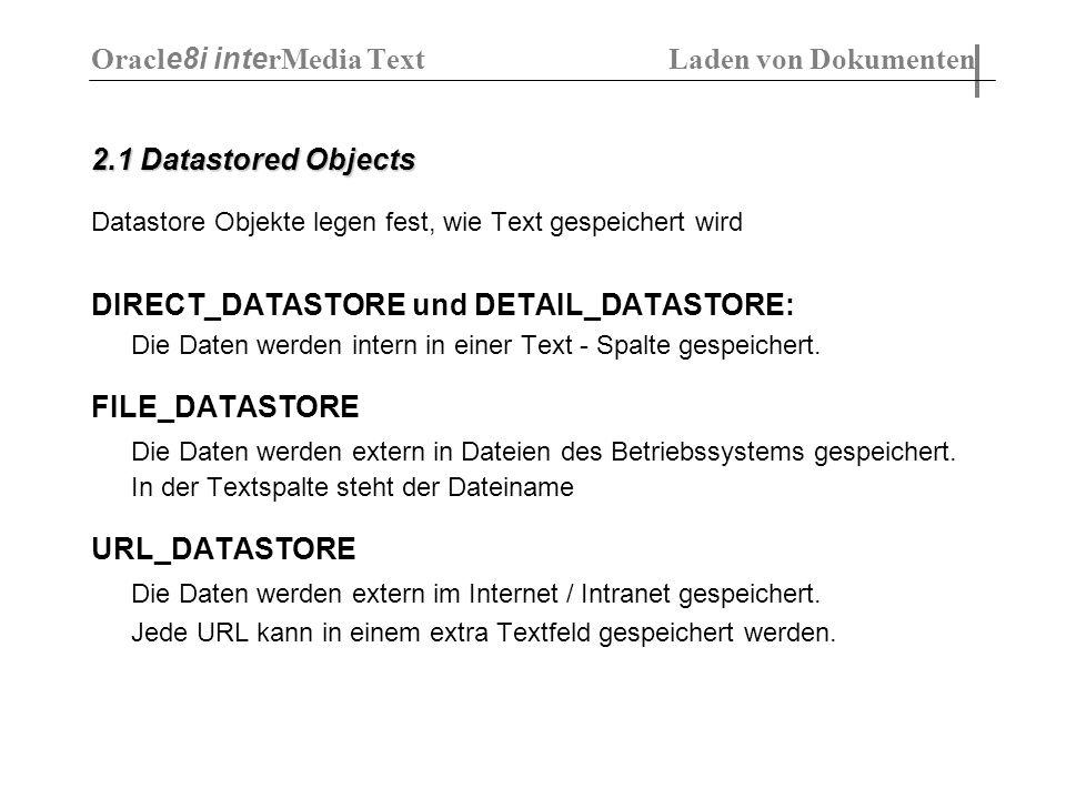 2.1 Datastored Objects Datastore Objekte legen fest, wie Text gespeichert wird DIRECT_DATASTORE und DETAIL_DATASTORE: Die Daten werden intern in einer