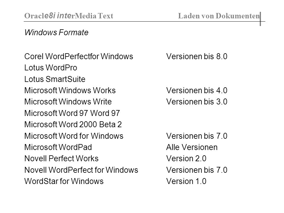 Windows Formate Corel WordPerfectfor Windows Versionen bis 8.0 Lotus WordPro Lotus SmartSuite Microsoft Windows Works Versionen bis 4.0 Microsoft Windows Write Versionen bis 3.0 Microsoft Word 97 Word 97 Microsoft Word 2000 Beta 2 Microsoft Word for Windows Versionen bis 7.0 Microsoft WordPad Alle Versionen Novell Perfect Works Version 2.0 Novell WordPerfect for Windows Versionen bis 7.0 WordStar for Windows Version 1.0 Oracl e8i inte rMedia Text Laden von Dokumenten
