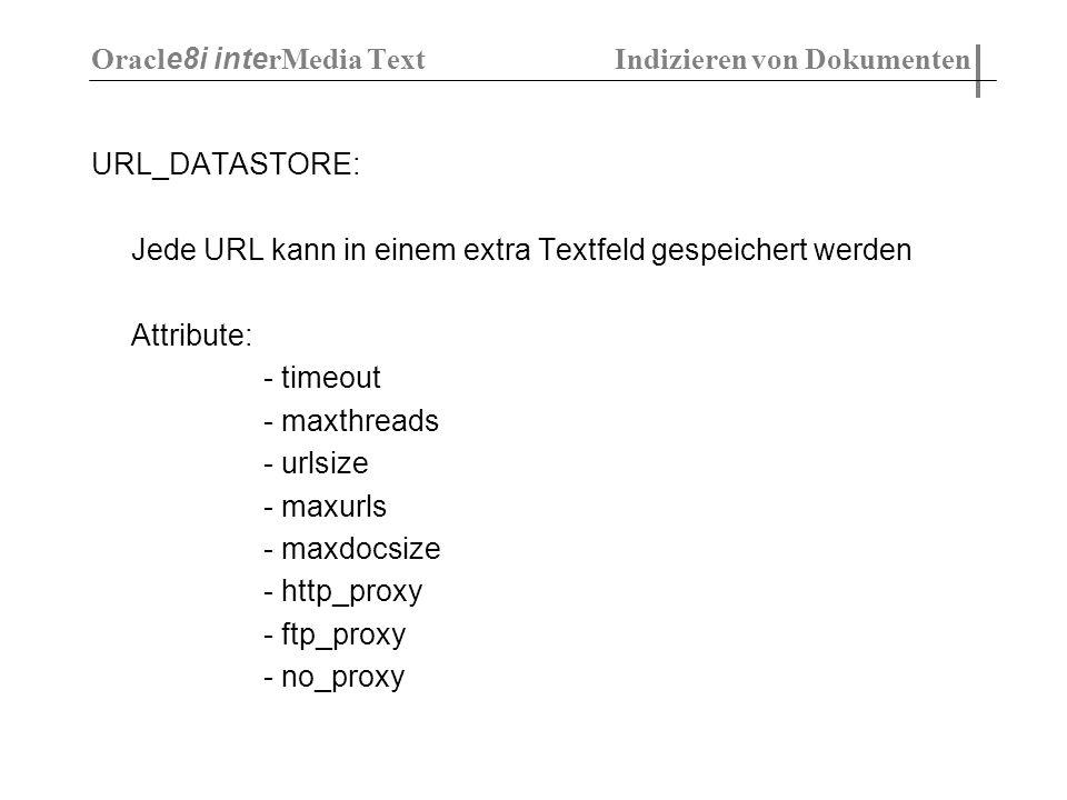 URL_DATASTORE: Jede URL kann in einem extra Textfeld gespeichert werden Attribute: - timeout - maxthreads - urlsize - maxurls - maxdocsize - http_prox