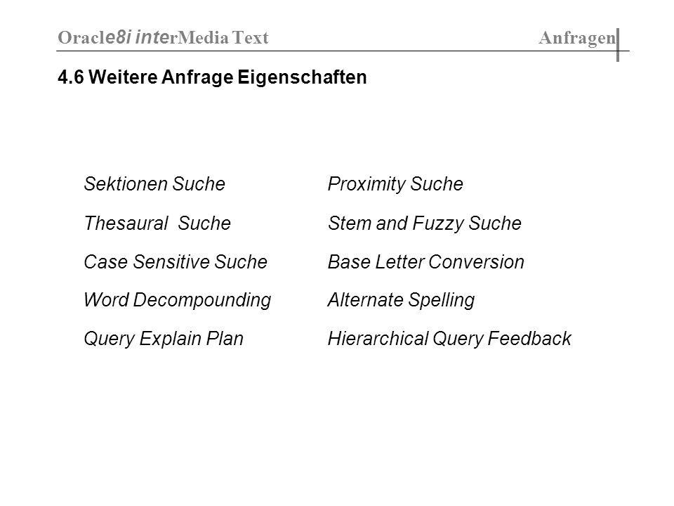 4.6 Weitere Anfrage Eigenschaften Sektionen SucheProximity Suche Thesaural SucheStem and Fuzzy Suche Case Sensitive SucheBase Letter Conversion Word D