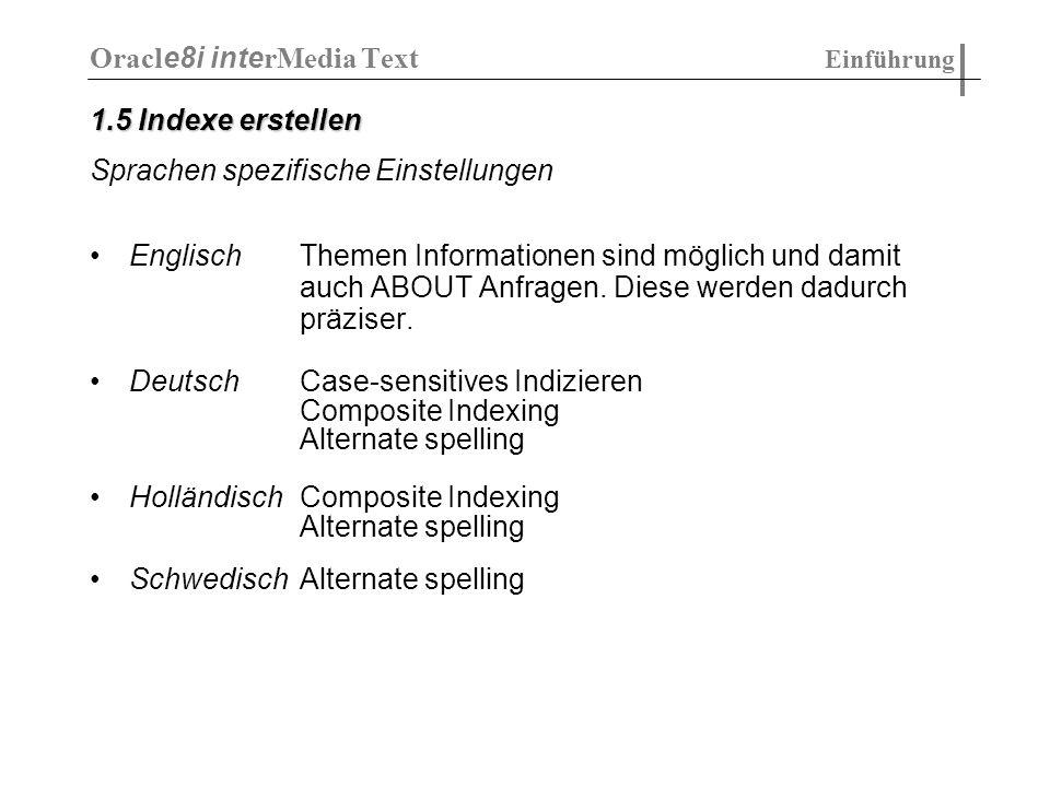 Context search (Standart): SELECT * FROM myDocs WHERE 1 = CONTAINS(TextBody, text IN SAME SENTENCEAS language ) Context search (Oracle): - in Oracle nicht möglich Ranking (Standart): SELECT * FROM myDocs WHERE 1.2 < RANK(TextBody, specific ) Ranking (Oracle): - RANK existiert nicht - mit Umweg über SCORE(xxx) und sortieren bewerkstelligbar...