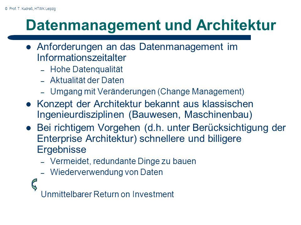 © Prof. T. Kudraß, HTWK Leipzig Datenmanagement und Architektur Anforderungen an das Datenmanagement im Informationszeitalter – Hohe Datenqualität – A