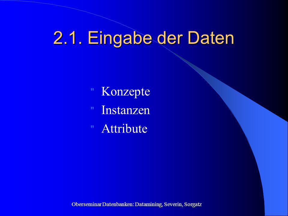 Oberseminar Datenbanken: Datamining, Severin, Sorgatz 2.1. Eingabe der Daten