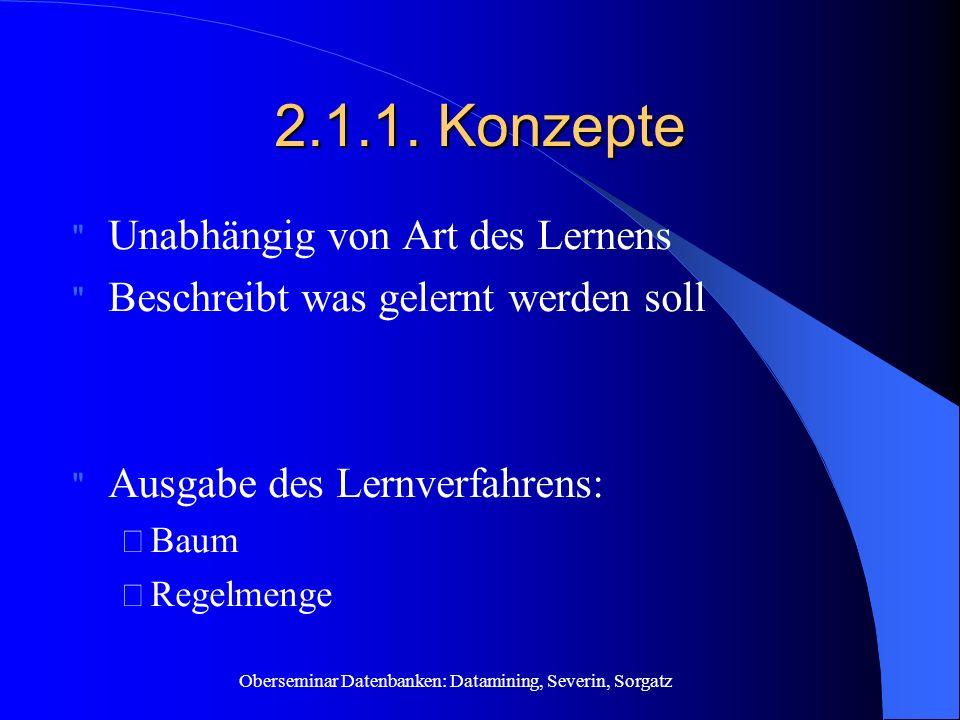 Oberseminar Datenbanken: Datamining, Severin, Sorgatz 2.1.1.