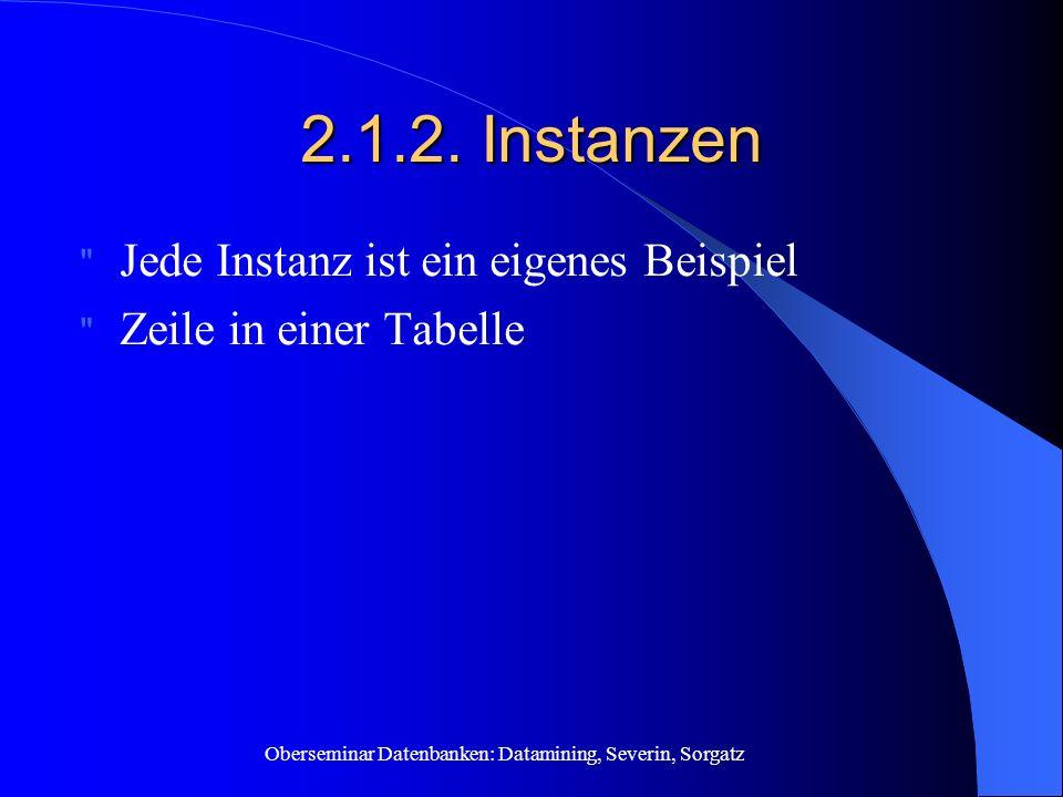 Oberseminar Datenbanken: Datamining, Severin, Sorgatz 2.1.2. Instanzen