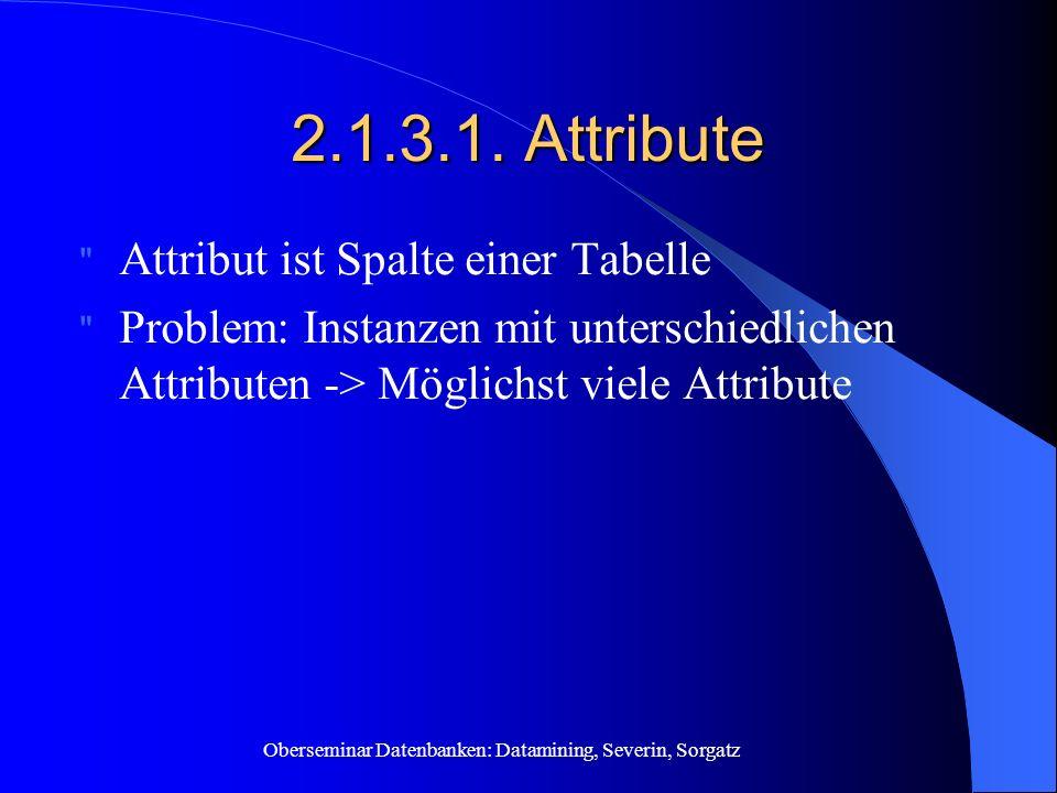 Oberseminar Datenbanken: Datamining, Severin, Sorgatz 2.1.3.1. Attribute