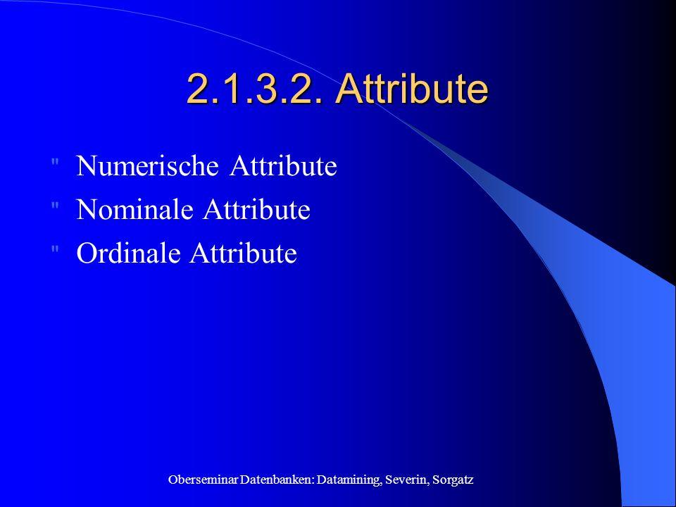 Oberseminar Datenbanken: Datamining, Severin, Sorgatz 2.1.3.2. Attribute