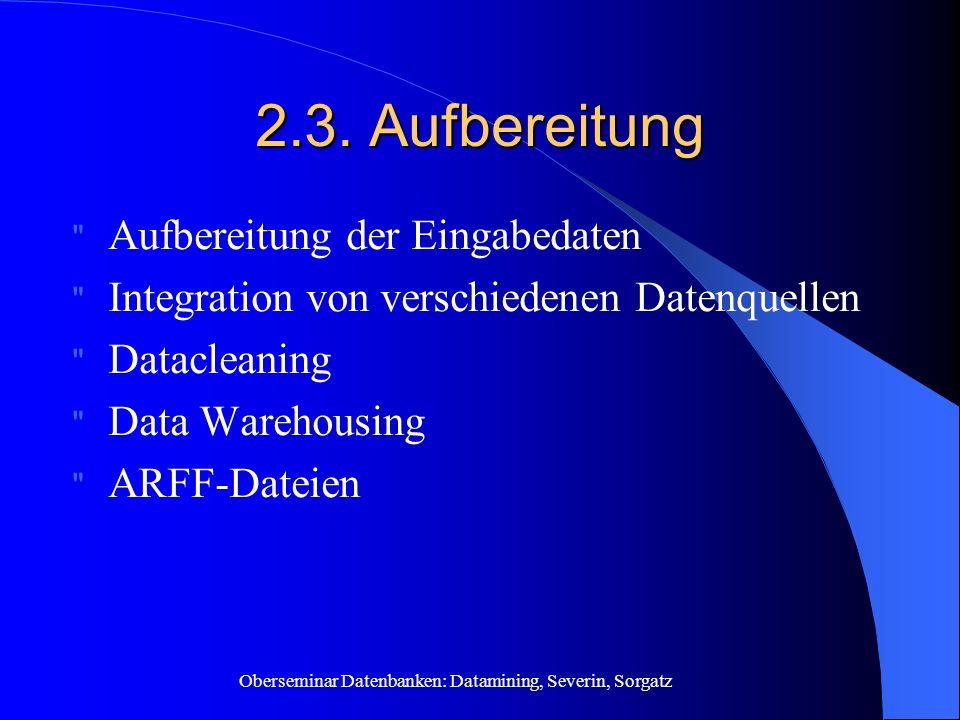 Oberseminar Datenbanken: Datamining, Severin, Sorgatz 2.3.